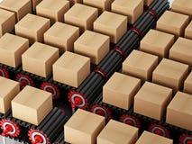 Cartonnez les boîtes sur la bande de conveyeur d'isolement sur le fond blanc illustration 3D Photos libres de droits