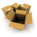 Cartons. 3D rendering of three closed cartons and an open one Royalty Free Stock Image