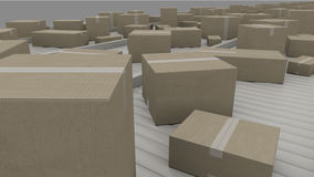 Cartons being transported on conveyors, close up, CGI. A lot of different cartons moving on conveyor Royalty Free Stock Image