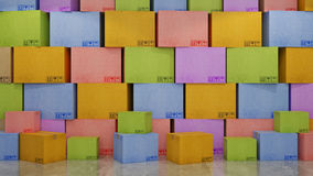 Cartons of colors in empty room 3D Royalty Free Stock Photo