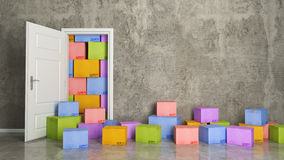 Cartons of colors in empty room 3D Royalty Free Stock Photos