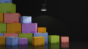 Cartons of colors in empty room 3D Stock Photography