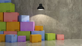 Cartons of colors in empty room 3D Royalty Free Stock Image
