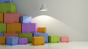 Cartons of colors in empty room 3D Royalty Free Stock Images