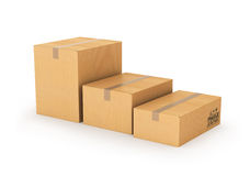 Cartons of different sizes on a white background. Stock Images