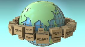 Many cartons with AMAZON logo around the world, Asia emphasized. Conceptual editorial loopable 3D animation