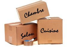 Moving boxes with French text royalty free stock images