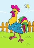 Cartoo animal de caractère d'oiseau de village gai de coq illustration de vecteur