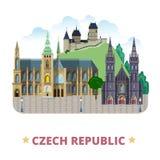 Cartoo liso do molde do projeto do país de República Checa ilustração stock