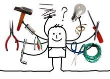 Cartoo mężczyzna z Wielo- narzędziami w rękach ilustracja wektor