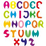 Cartoon children font, cut colorful alphabet collection english letters, education typography design element. Cartoon children font, cut colorful alphabet stock illustration