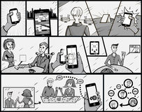cartoon επίσης corel σύρετε το διάνυσμα απεικόνισης Λαϊκό αναδρομικό ύφος τέχνης ο υπάλληλος παιδιών κινούμενων σχεδίων πεταλούδω Στοκ Εικόνα