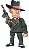 Cartoon 1920 gangster with a machine gun stock illustration