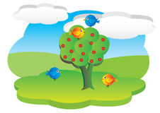 Cartoon 3d meadow. Birds on a tree in the meadow Royalty Free Stock Image