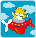 Cartoon. Little cat go travel with airplane stock illustration