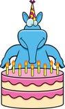 Cartoon Aardvark Birthday. A cartoon illustration of an aardvark with a birthday cake Stock Photo