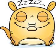 Cartoon Aardvark Napping. A cartoon illustration of a little aardvark taking a nap Stock Photo