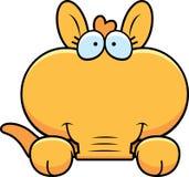 Cartoon Aardvark Peeking. A cartoon illustration of a little aardvark peeking over an object Stock Photos