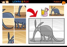 Cartoon aardvark puzzle game Stock Photography