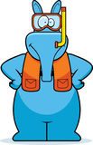 Cartoon Aardvark Snorkeling Stock Photography