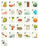 Cartoon ABC Cliparts Poster. Illustration of a set of cute cartoon ABC letters and font characters from ananas to zebra for school and preschool kids Stock Photo