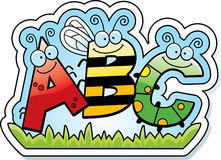 Cartoon ABC Text. A cartoon illustration of the text ABC with an insect theme Stock Photos