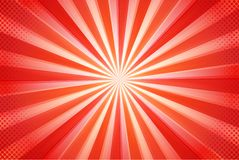 Cartoon abstract background Beautiful red sun rays