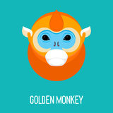 Cartoon abstract bright golden monkey portrait Stock Images