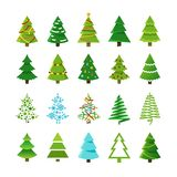 Cartoon abstract christmas trees with gifts and balls vector set Stock Image