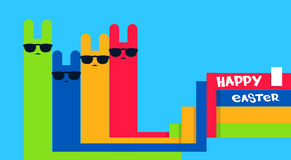 Cartoon Abstract Rabbits In Glasses Happy Easter Holiday Greeting Card Banner. Flat Vector Illustration Royalty Free Stock Photo