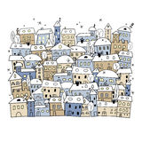 Cartoon of abstract winter village for christmas design Stock Image
