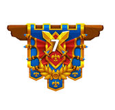 Cartoon achievement coat of arms isolated on white background. Vector illustration Stock Photo