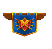 Cartoon achievement coat of arms isolated on white background. Vector illustration Royalty Free Stock Image