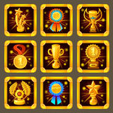 Cartoon Achievement Game Screen Icon Set Stock Photo