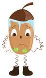 Cartoon acorn freezes. Cartoon acorn shivering from the cold. Vector illustration Stock Photo