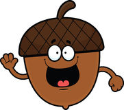 Cartoon Acorn Happy. Cartoon illustration of an acorn with a happy expression Royalty Free Stock Image