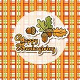 Cartoon acorn, oak leaves, handwritten words Happy Thanksgiving Stock Photo