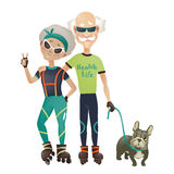 Cartoon active old couple, man and woman doing Stock Image