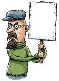 Cartoon Activist. A cartoon activist protesting with a sign Stock Image