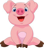 Cartoon adorable baby pig Royalty Free Stock Images
