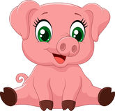 Cartoon adorable baby pig Royalty Free Stock Photo