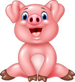 Cartoon adorable baby pig isolated on white background Stock Photo