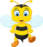 Cartoon adorable bees posing Royalty Free Stock Image