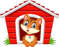 Cartoon adorable cat in the cage Royalty Free Stock Photography