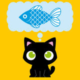 Cartoon Adorable Cat Dreaming With A Fish Royalty Free Stock Photos