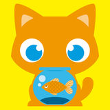 Cartoon Adorable Cat With A Fish In A Fishbowl Stock Images