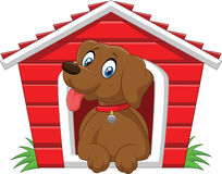 Cartoon adorable dog in the cage Royalty Free Stock Photography