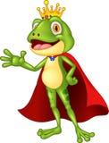 Cartoon adorable king frog waving hand Stock Photos