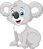 Cartoon adorable koala sitting isolated on white background Stock Photos