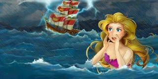 Cartoon adventure illustration - storm on the sea - mermaid watching the ship Royalty Free Stock Photography